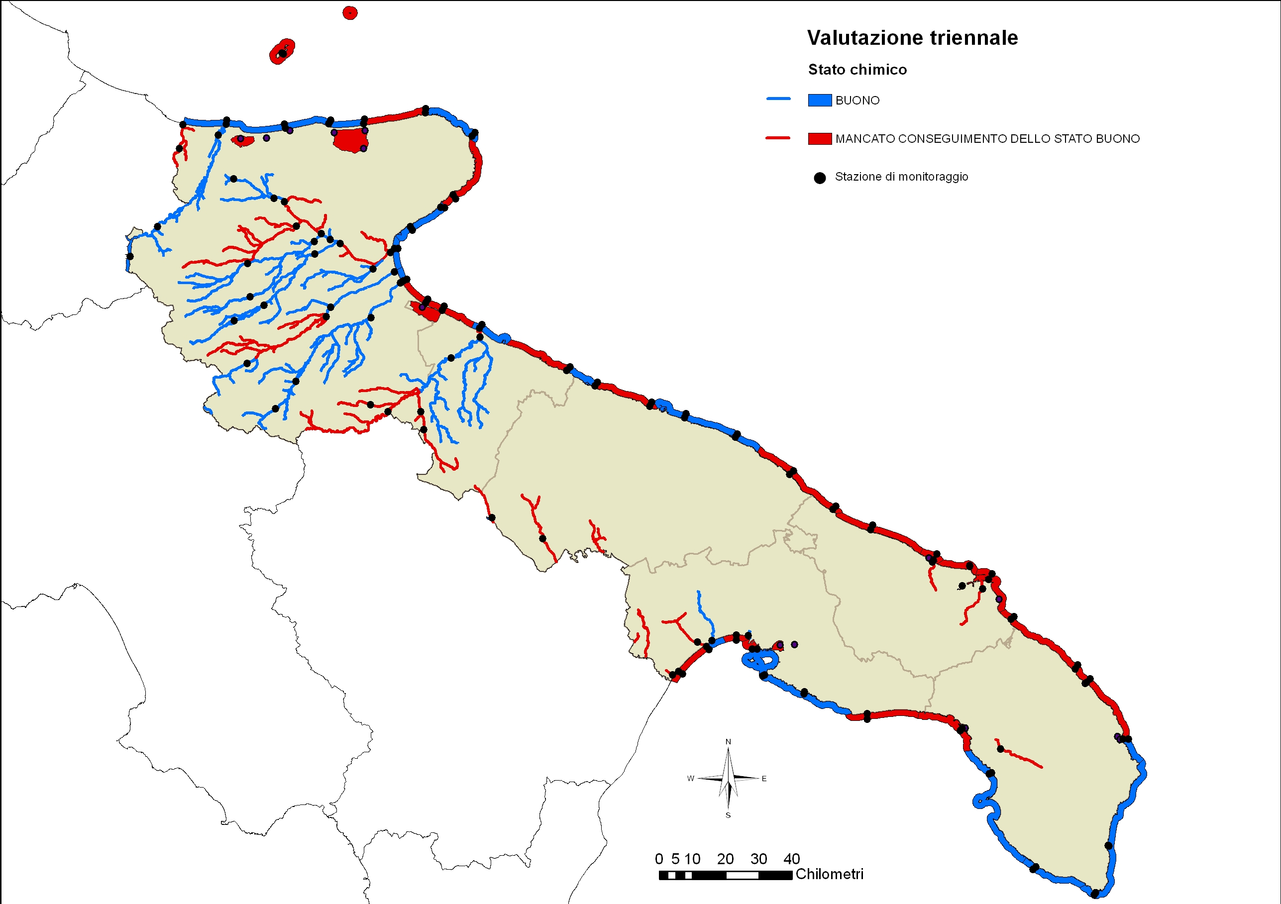 Valutazione triennale: carta della Regione Puglia che indica lo stato chimico, da
